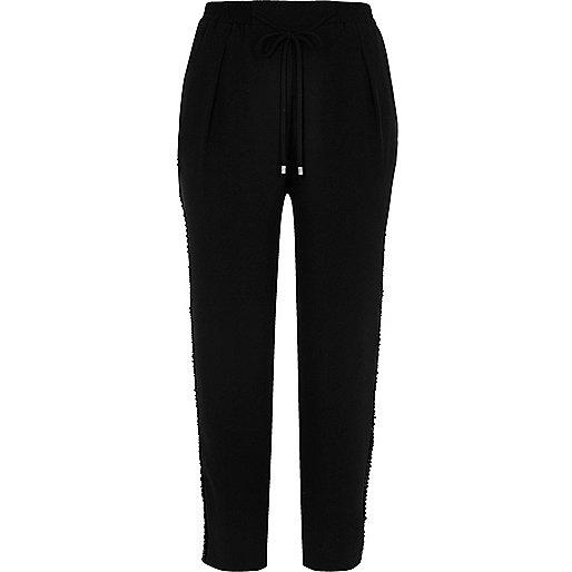 Pantalon tissé doux rayé noir à cordon de serrage