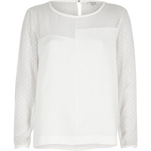 White chiffon block panel top