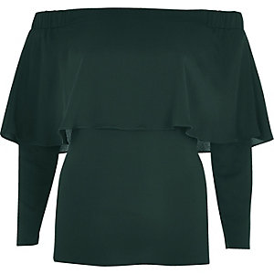 Dark green deep frill bardot top