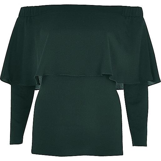 Dark green deep frill bardot top