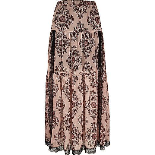 Pink paisley print lace panel maxi skirt