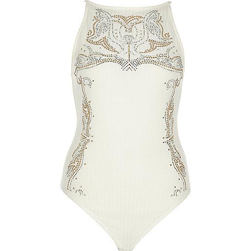 Cream stud embellished bodysuit