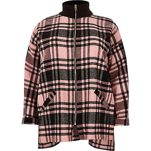 Plus pink check zip shacket
