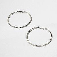 Silver tone hybrid hoop earrings