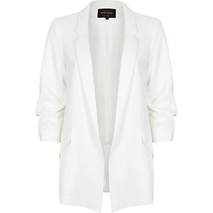 White ruched sleeve open blazer