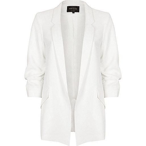White ruched sleeve open blazer