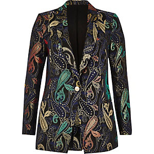 Metallic jacquard suit jacket