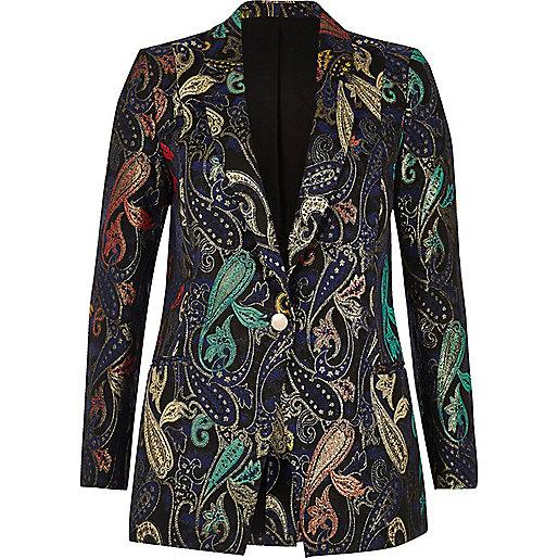 Navy floral print suit jacket