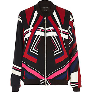 Black multicolored print bomber jacket