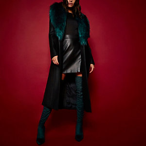 RI Studio black faux fur collar wool coat