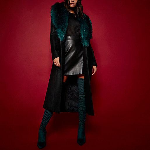 RI Studio black faux fur collar wool coat