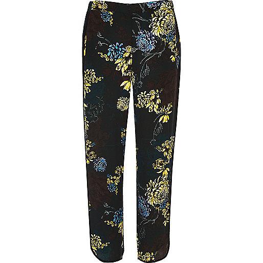 Pantalon doux bleu à imprimé floral