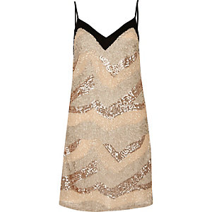Nude sequin slip dress