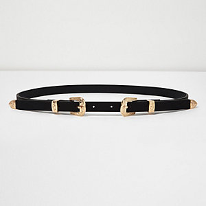 Black skinny belt with double buckle
