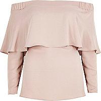 Blush pink deep frill bardot top