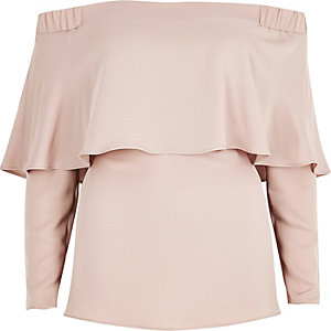 Blush pink deep frill bardot top