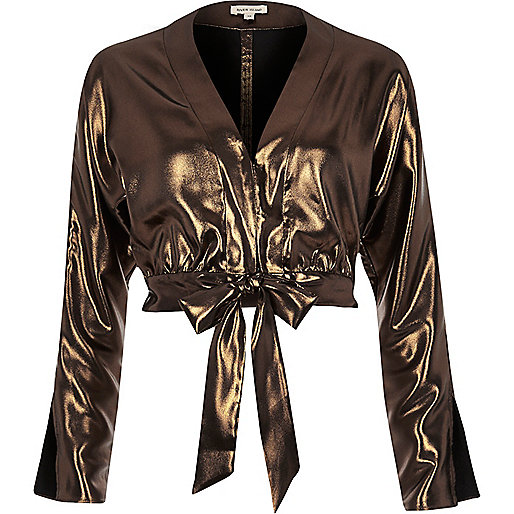 Metallic gold starlight tie front crop top