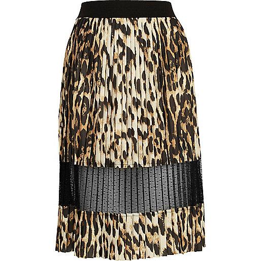Brown leopard print pleated lace midi skirt