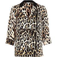 Leopard print pajama shirt