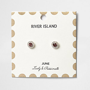 Purple June birthstone stud earrings