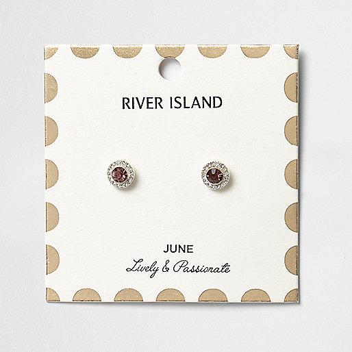Clous d'oreilles à pierres de naissance mois de juin violettes