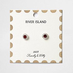 Red July birthstone stud earrings