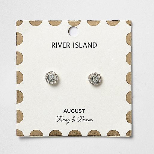 Green August birthstone stud earrings