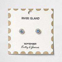 Clous d'oreilles à pierres de naissance mois de septembre bleues