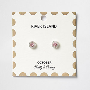 Pink October birthstone stud earrings
