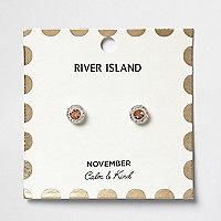 Orange November birthstone stud earrings