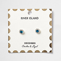 Blue December birthstone stud earrings