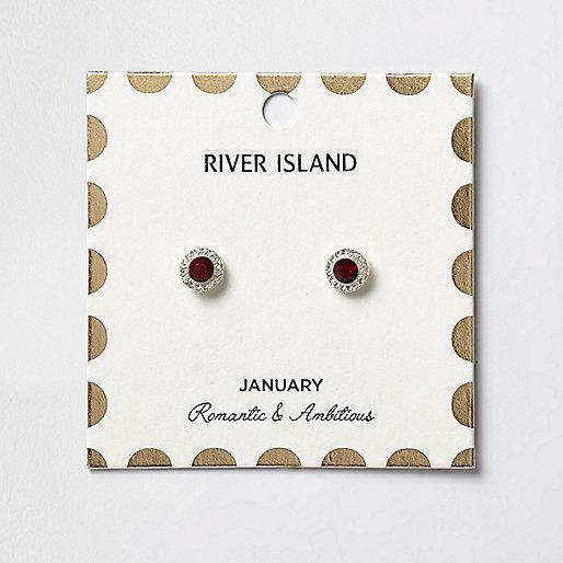 Clous d'oreilles à pierres de naissances mois de janvier rouges