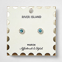 Blue March birthstone stud earrings