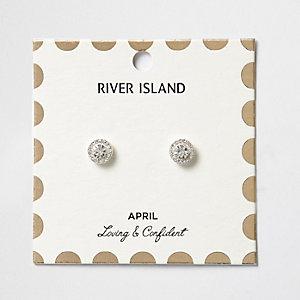 Clous d'oreilles à pierres de naissance mois d'avril blanches