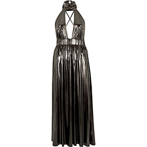 Metallic silver choker maxi dress