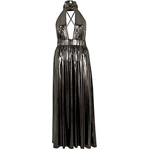Metallic silver choker maxi dress