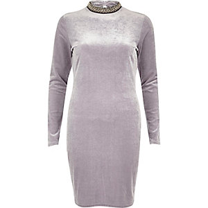 Grey velvet jewelled turtleneck mini dress