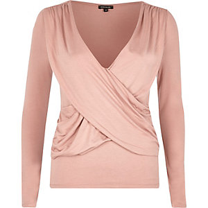 Pink ruched wrap top