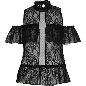 Black lace frill cold shoulder top