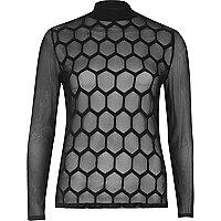 Black hexagonal mesh turtleneck top