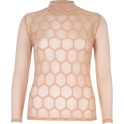 Blush pink hexagonal mesh turtleneck top