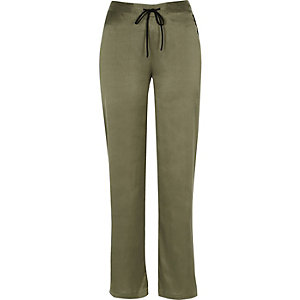 Khaki satin pyjama trousers