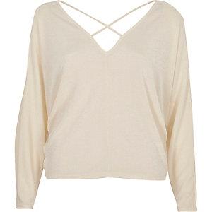 Cream cold shoulder strappy batwing top