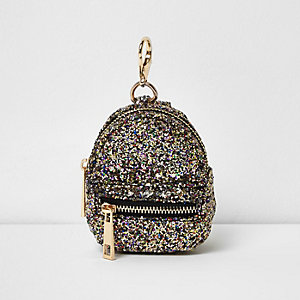 Porte-clé mini sac à dos doré pailleté