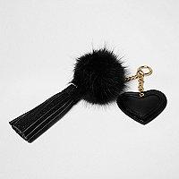 Black heart pom pom tassel keyring