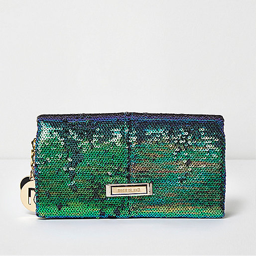 Green sequin foldover purse