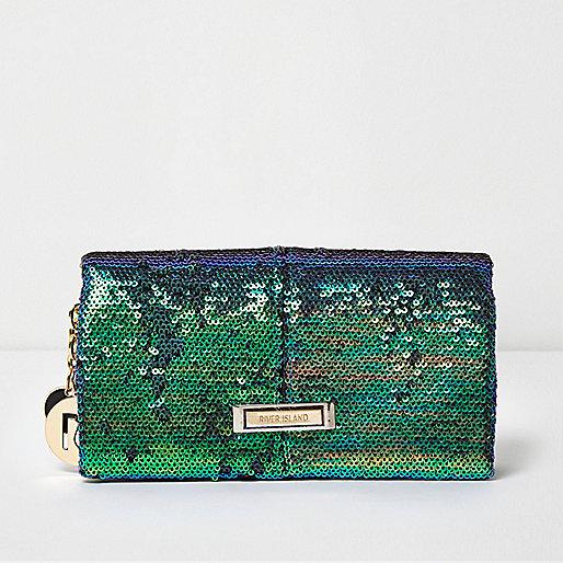 Green sequin foldover purse