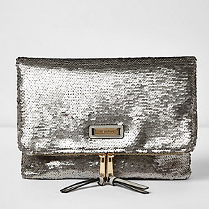Silver sequin fold over clutch bag
