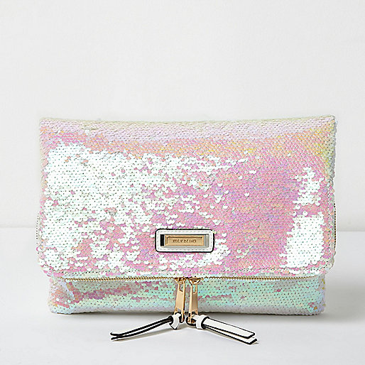 White reflective sequin fold over clutch bag