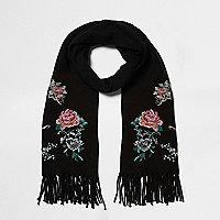 Schwarzer Schal mit Blumenstickerei